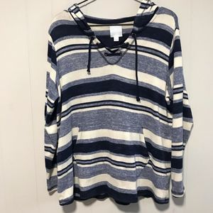 Sunday Pullover Blue Striped Knit Hoodie